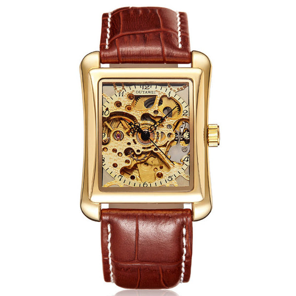 Leather Strap Men Watch Self Wind Skeleton Watch