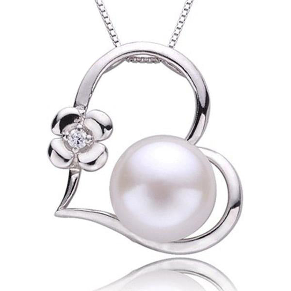 925 Sterling Silver White Natural Freshwater Pearl Necklaces