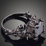 Skull Claw Black Filled Rhodium Plated Demon Princess Ring