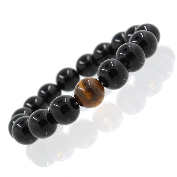 Crystal 8mm Rock Buddha Bracelet