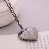 """I love you"" Carved DIY Love Heart Secret Message Locket Necklace"