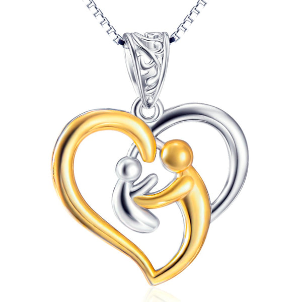 925 Sterling Silver Gold Love Heart Necklace