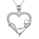 Genuine 925 Sterling Silver Cute Lying Cat Necklace