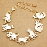 Egyptian Bastet Gold Cat Chain Link Bracelets