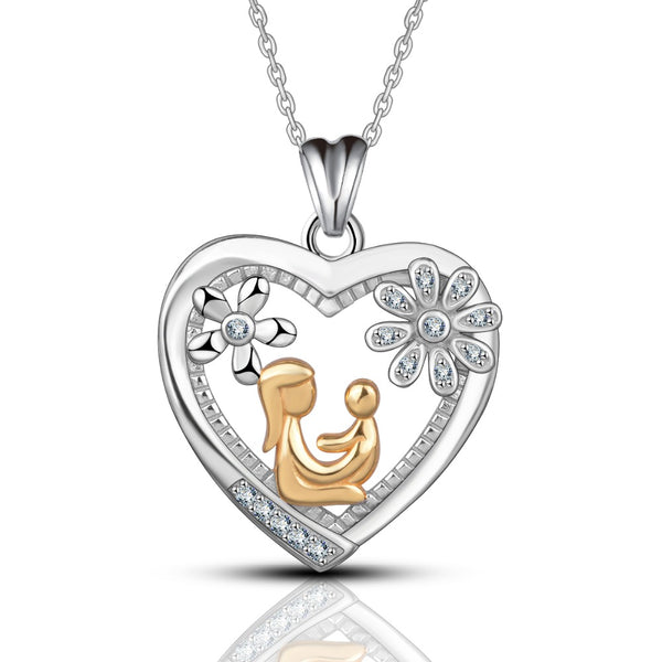 100% 925 Sterling Silver Gold Mom Holding Baby in Crystal Heart Pendant Necklace