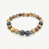 Matt Obsidian Bead Tiger Eye CZ Skull Cross Pearl Bracelet