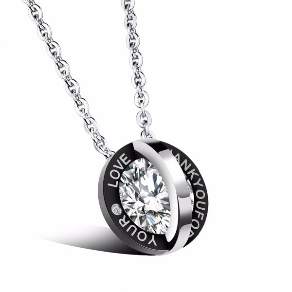 Titanium Stainless Steel Necklace with Charm Double Circle w/wo Laser Engraved Name
