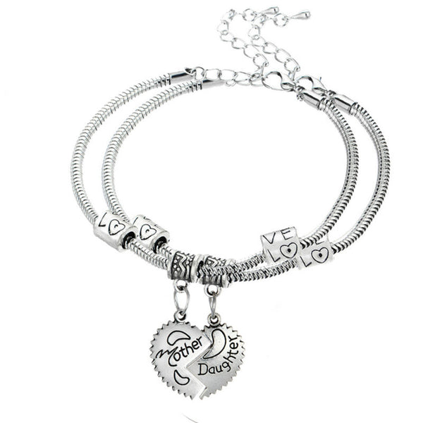 Hot 2PC/Set Love Between Mother And Daughter Charm Bracelets