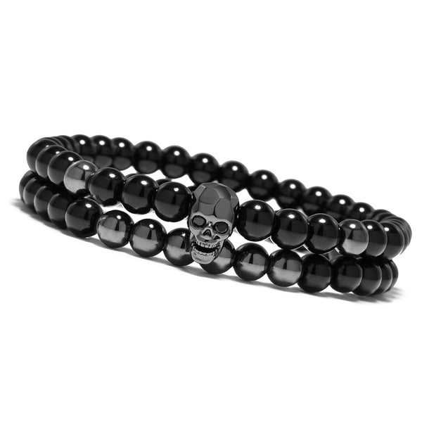 Metal Smile Skull Elastic Black Beads Bracelets Set