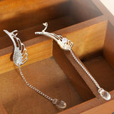 Silver Angel Wing Crystal Earrings