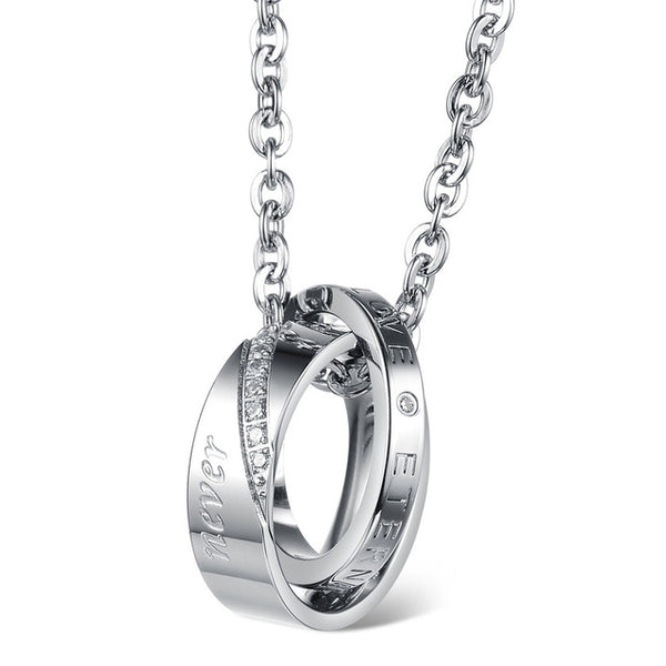 Stainless Steel Titanium Steel Circles Romantic Couple Necklace