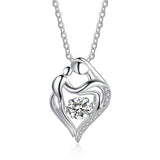 925 Sterling Silver Mother Kids Love Heart Necklaces