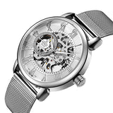 Stainless Steel Mechanical Skeleton Wrist Watch