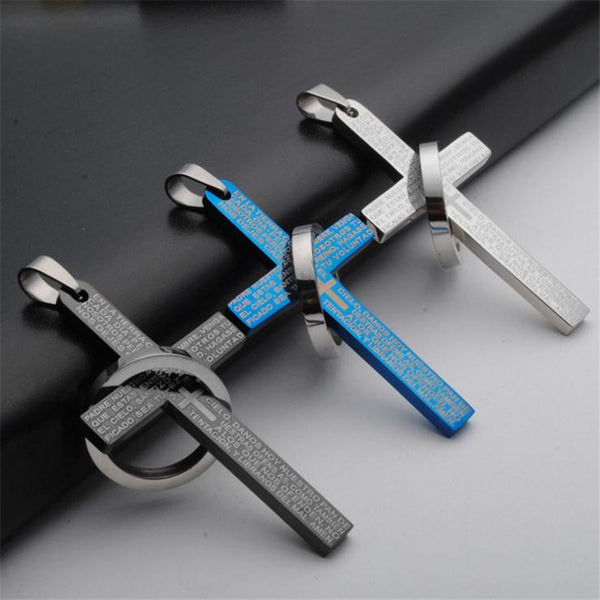 Classic Stainless Steel Cross Bible Pendant Necklace