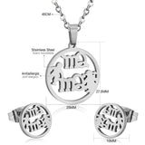 Warm Family MaMa Son Daughter Stainless Steel Jewelry Set