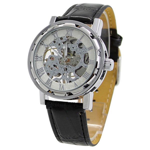 Classic Men Faux Leather Wristwatch Automatic Skeleton Watch