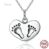 "925 Sterling Silver Engrave ""Lucky To have A Mom Like You"" Baby Feet Pendant Necklaces"