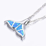 Elegant Opal Mermaid Tail Pendant Necklace