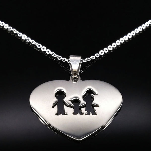 Stainless Steel Love Heart Family Necklace
