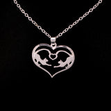 Two Cute Cats in One Heart Pendant Necklace