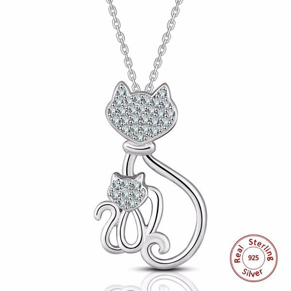 925 Sterling Silver Kitty Necklaces
