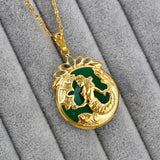 Tibet Golden Greenstone Pendant Mermaid Pendant