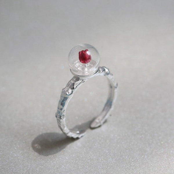 925 Sterling Silver Adjustable Red Rose Flower Ring