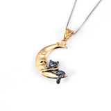 925 Sterling Silver Lovely Cat and Moon Necklace