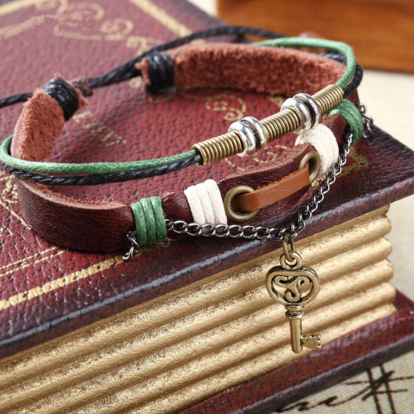 2 pcs Lock and Key Couples Leather Bracelet