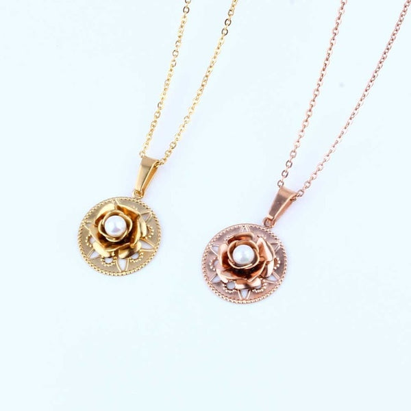 Stainless Steel Rose with Pearl Pendant Necklace