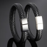Stainless Steel Magnet Leather Bracelets