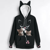 Cat Lovers Kangaroo Pocket with Ears Hoodie