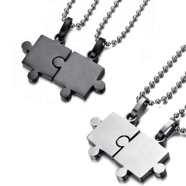 Stainless Steel Joint puzzle Pendant Couple Necklaces