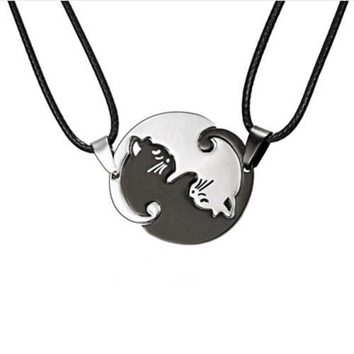 Titanium Steel Black and White Cats Couple Necklace
