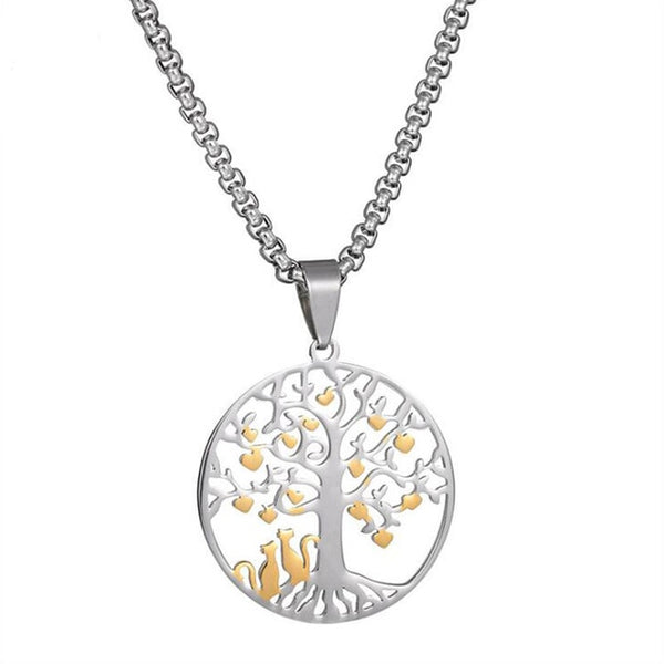 Titanium Steel Cat Guard the Love Tree Pendant Necklace