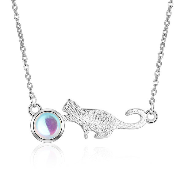 925 Sterling Silver Funny Cat Pendant Necklace