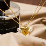 Adorable Valentine Lover Gift Heart Together Pendant Necklace