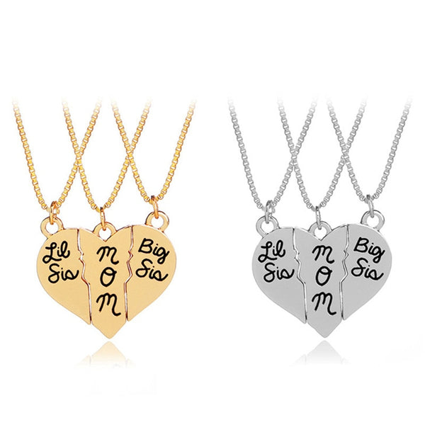 3pcs-set Little Sis MOM Big Sis Love Heart Pendant Necklace