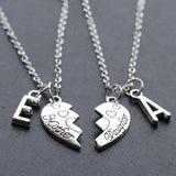 Custom Initials Mother Daughter Heart Necklaces