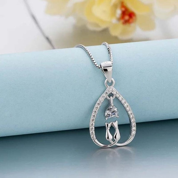 Pure Silver 925 Two Lovely Cat Necklace
