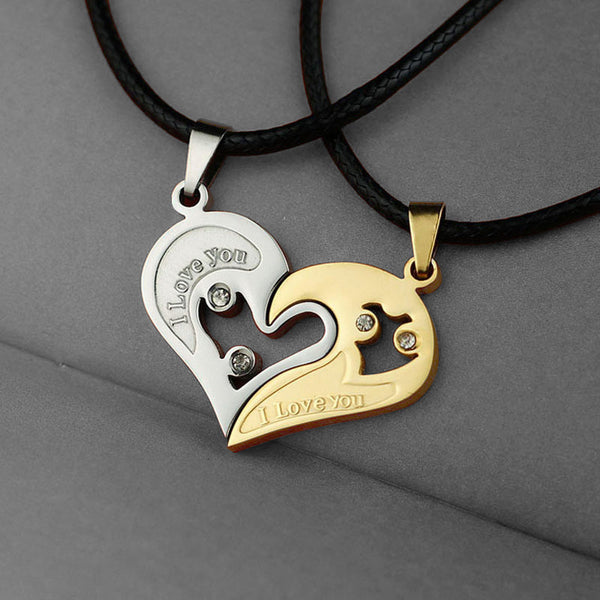 Two Hearts in One Necklace with Rope Chain