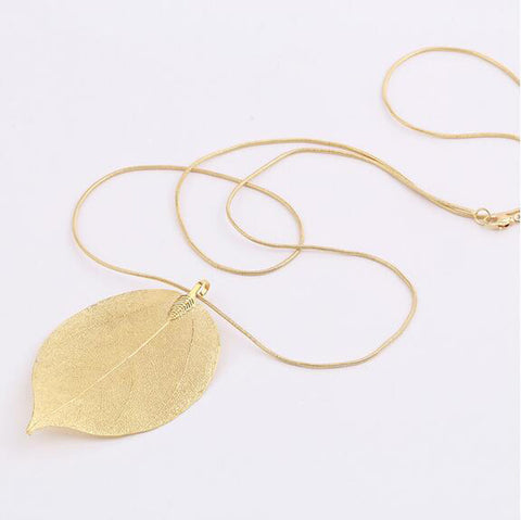 Leaves Leaf Pendant Long Chain Necklace