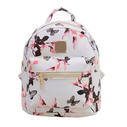 Flower Floral Leather Backpack Schoolbag