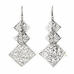 3 Square Drop Earrings Gold Silver