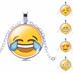 13 Style Plated with Glass Cute Emoji Pattern  Necklace