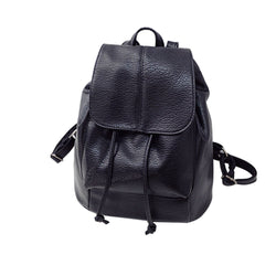 Leather Drawstring Satchel Shoulder Backpack