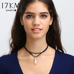 9 Colors Black Leather Natural Stone Choker Necklace