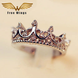 Queen's Silver Crystal  Crown Rings Wedding Engagement Rings