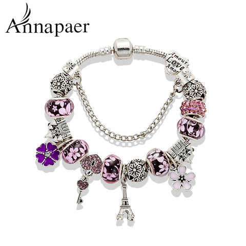 Mix Style Charm Bracelet Silver Glass Beads