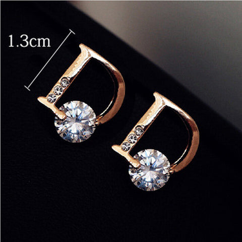 Gold-plated Letter D Individuality Earrings